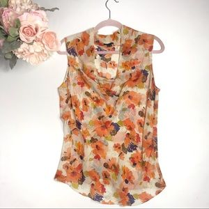 Theory Silk Floral Sleeveless Blouse